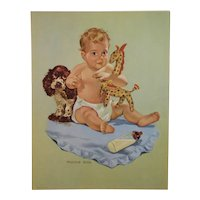 Vaughan Bass Baby and Spaniel Dog Print with Giraffe Toy Lithograph Louis F. Dow Co