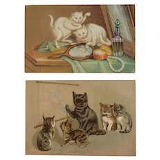 2 Dieter's Crown Baking Powder Victorian Trade Cards with Cats Kittens Reflection in Mirror Kitty Kitties