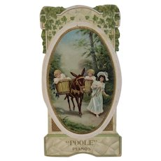 Poole Pianos Victorian Die Cut Trade Card Embossed Advertising with Children and Donkey