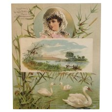 Huge Trade Card Great Atlantic and Pacific Tea Company A & P Baking Powder Victorian Advertising Ad Down Upon the Suwanee River