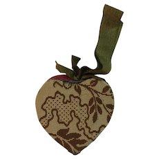 Hanging Heart Folk Art Needle Case and Pincushion Pin Cushion Hand Made