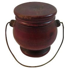 Red Treen Miniature Bucket With Rope Handle and Cover Treenware Hand Made Wood Folk Art