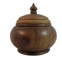 Olive Tree Wood Treen Covered Dish Treenware Ware With Nice Finial Hand Made