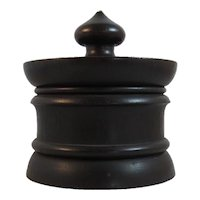 Treen Tea Caddy Folk Art Treenware Turned Wood Covered Dish with Finial Hand Made