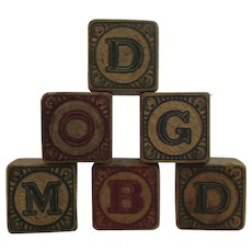 6 Victorian Wood Alphabet Picture Number Toy Children's Blocks