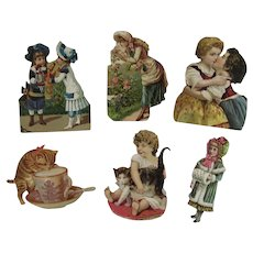 Victorian Scrap Cats and Children 6 Pieces