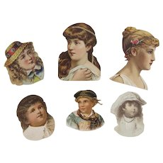 Victorian Scrap Busts of Girls Children 6 Pieces