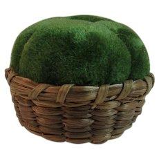 Velvet Pincushion in Basket Pin Cushion Green Vintage Sewing Miniature