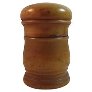 Mustard Yellow Treen Spice Container With Lid Hand Made Folk Art Treenware Wood Pennsylvania