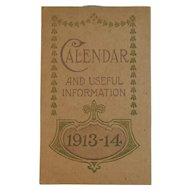 1913 1914 Bromo-Seltzer Pocket Calendar Notebook And Useful Information
