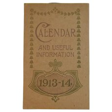 1913 1914 Bromo-Seltzer Pocket Calendar Notebook And Useful Information
