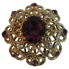 Coro Amethyst & Clear Colored Rhinestone Gold Tone Pin Purple
