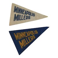 2 Vintage Baseball Mini Felt Pennants American Nut & Chocolate Co Premiums Minneapolis Millers Minor League Team