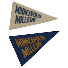 2 Vintage Baseball Mini Felt Pennants American Nut & Chocolate Co Premiums Minneapolis Millers Minor League Team
