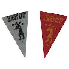 2 Vintage Baseball Mini Felt Pennants American Nut & Chocolate Co Premiums Jersey City Minor League Team