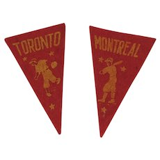 2 Vintage Canadian Baseball Mini Felt Pennants American Nut & Chocolate Co Premiums Montreal and Toronto Minor League Teams