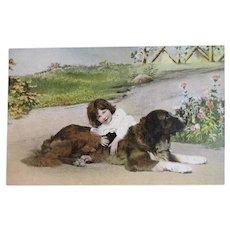 Girl with Saint Bernard Dog Postcard Unused Edwardian Era