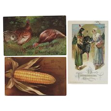 3 Thanksgiving Postcards IAP and Winsch Turkeys Corn Native American and Pilgrim
