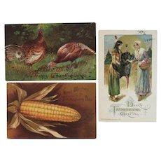 3 Thanksgiving Postcards IAP and Winsch Turkeys Corn Native American and Pilgrim