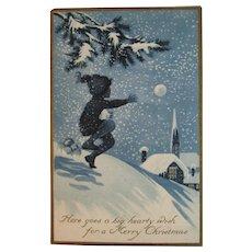 Gibson Art Boy with Snowball Christmas Postcard Art Deco