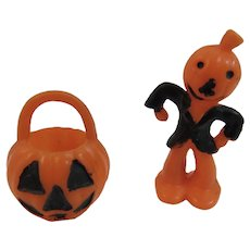 Miniature Halloween Scarecrow and Jack O Lantern Candy Container Pumpkin Man Hard Plastic Decorations