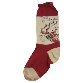 Red & White Christmas Sock Stocking Santa Sleigh Reindeer Toy Sack Vintage