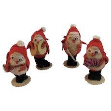 Chenille and Spun Cotton Santa Suit Christmas Band Musicians Figurines Felt Mercury Glass Staff Foil Guitar Cymbals Cardboard Vintage Japan