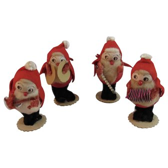 Chenille and Spun Cotton Santa Suit Christmas Band Musicians Figurines Felt Mercury Glass Staff Foil Guitar Cymbals Cardboard Vintage Japan