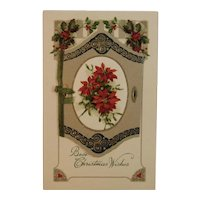 German Christmas Booklet Style Postcard Poinsettias Embossed Germany