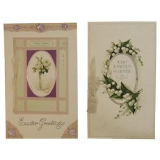 2 German Booklet Style Easter Postcards from the Edwardian Era Germany