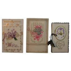 3 Booklet Style Birthday Christmas Postcards and Card from the Edwardian Era 1 German Germany