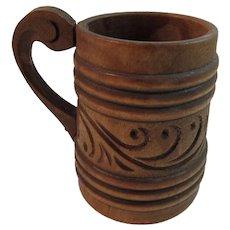 Vintage Norwegian Carved Wood Mug Cup Norway Folk Art - Red Tag Sale Item