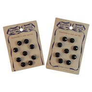 18 Black Glass Faceted Buttons Never Used on Original Cards US Zone Germany Supreme Quality