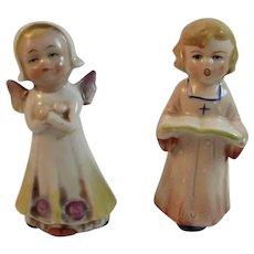 german bisque angel and caroler figurines vintage christmas germany