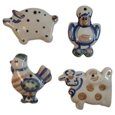 MA Hadley Pottery Country Farm Animals Ornaments Duck Rooster Cow Pig Vintage Kitchen
