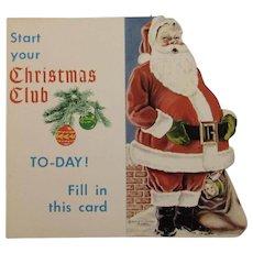 Vintage Santa Christmas Club Advertising Card and Ornament Dauphin Deposit Bank