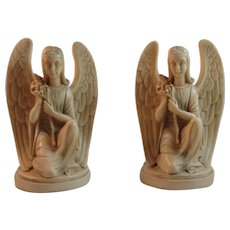 Bianchi Italy Angel Book Ends Italian Carved Resin Vintage Bookends - Red Tag Sale Item