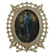 Gothic Cast Iron Frame with Gainsborough Blue Boy Print Swing Arm
