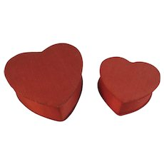 2 Vintage Red Heart Candy Container Box Boxes Satin Valentines Day