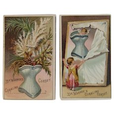 2 Coraline Corset Trade Cards Dr. Warners Victorian Advertising Carlisle, PA