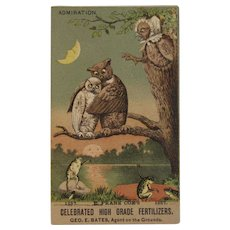 1887 Owl and Frog Trade Card E Frank Coe's Fertilizer Admiration Victorian Advertising