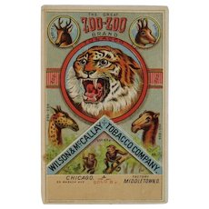 Zoo-Zoo Brand Trade Card with Tiger Monkeys Giraffe Camel Deer and Gazelle Wilson & McCallay Tobacco Company Victorian Advertising