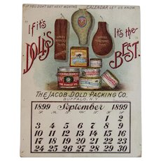 1899 Pocket Calendar Card Jacob Dold Packing Co Dold's Buffalo New York Victorian Advertising