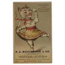 Orchilla Guano Dancing Dressed Cat Fertilizer Trade Card Victorian Advertising Wooldridge & Co Baltimore