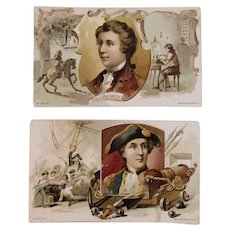 1894 Clark's Paul Revere John Paul Jones Patriotic Victorian Trade Cards Advertising Donaldson Brothers Mile End Spool Cotton
