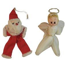 2 Vintage Christmas Ornaments Santa and Angel Japan Netting Glitter Felt and Cotton Batting