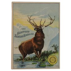 The Weed Hartford Sewing Machine Victorian Trade Card with Stag Ad Advertising