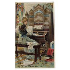 The Estey Phonorium Organ Victorian Trade Card Forbes CO Chromolithograph Ad Advertising Carlisle PA Music Shop
