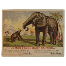 Jumbo Feeds Baby Castoria in Bottle Centaur Liniment Victorian Ad Advertising Trade Card Elephant PT Barnum Endorsed Cure All Quackery