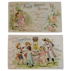 1890 1892 Ladies Perfumed Calendar Hoyt's German Cologne and Rubifoam for the Teeth Victorian Advertising Trade Cards